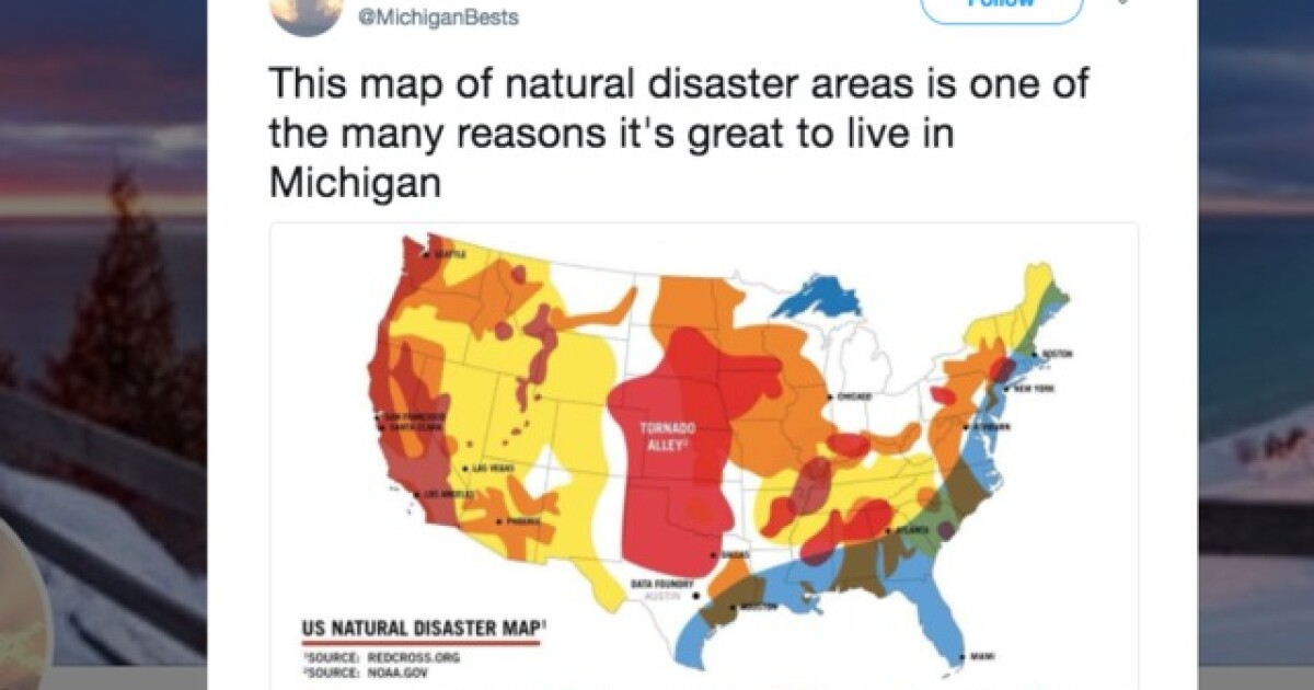 Natural Disaster Map Shows Why Michigan Is The Perfect State - Us-disaster-map