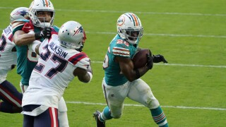 Miami Dolphins running back Salvon Ahmed vs. New England Patriots in 20202