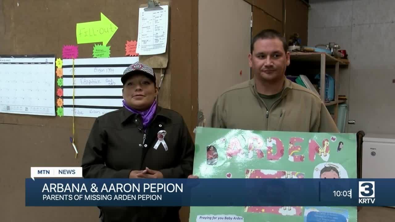 Arbana Pepion and Aaron Pepion, parents of Arden