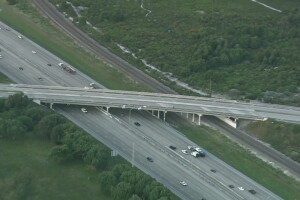 Clint Moore Road I-95 overpass aerial