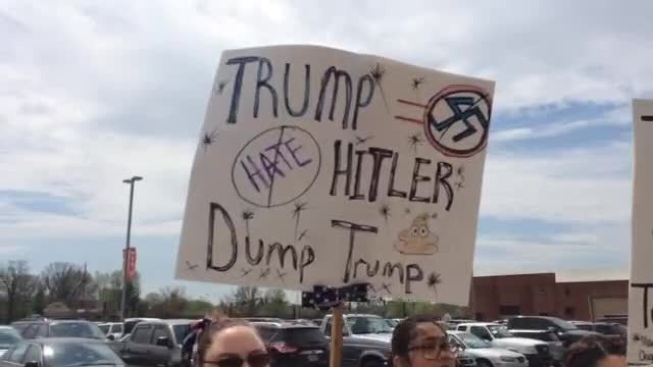 Protesters at Donald Trump's Indianapolis rally