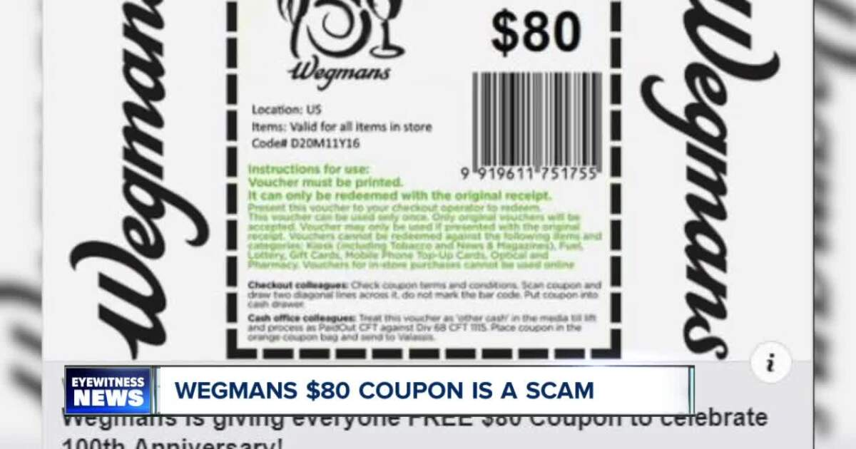 Attention Wegmans shoppers! Do not click on this fake $80 coupon on