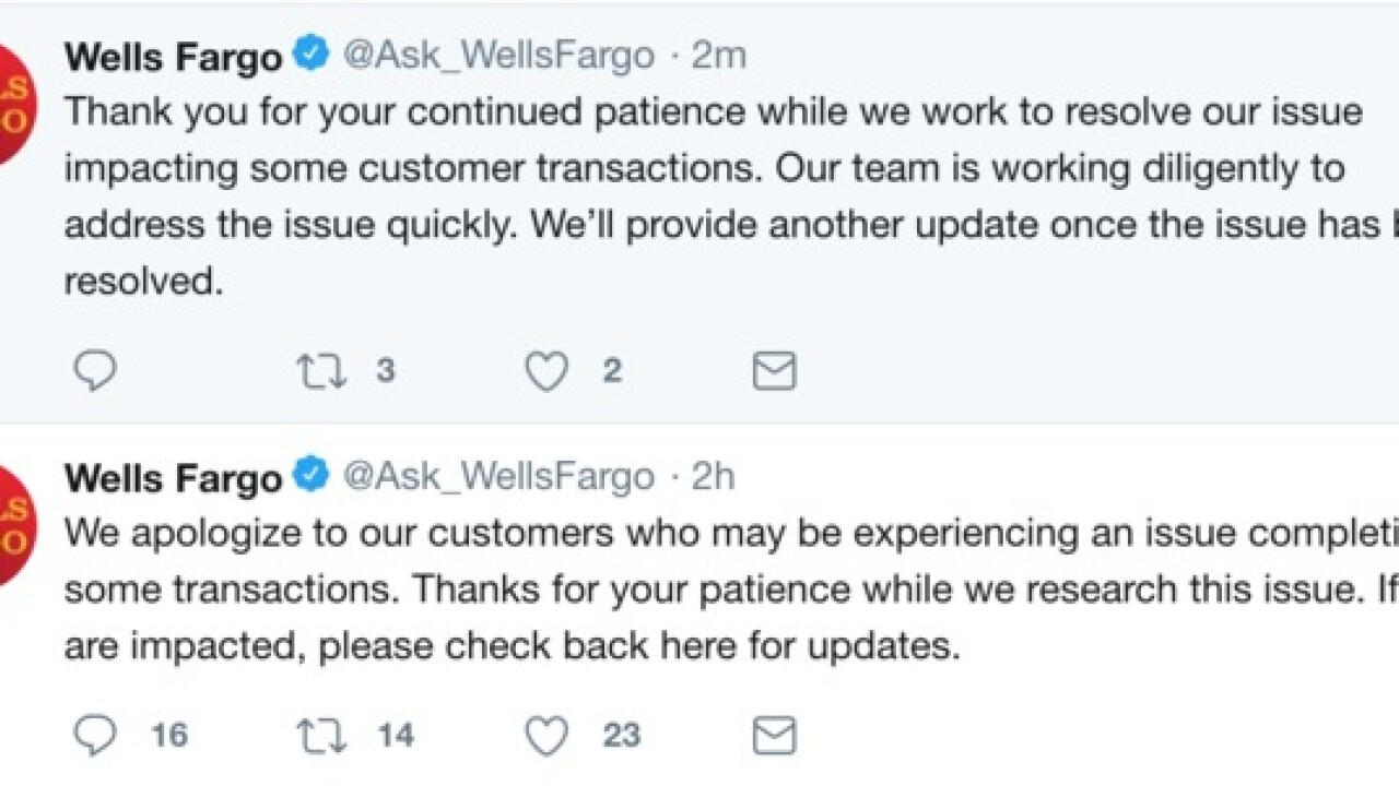 Wells Fargo members may have challenges completing transactions