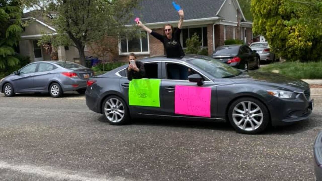 Parade for nurse Haley Jangard who just returned from volunteer work in NYC.