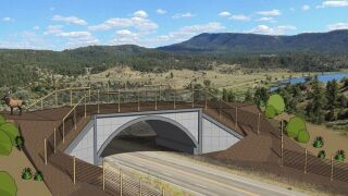 Artistic rendition of wildlife overpass and underpass on U.S. Highway 160