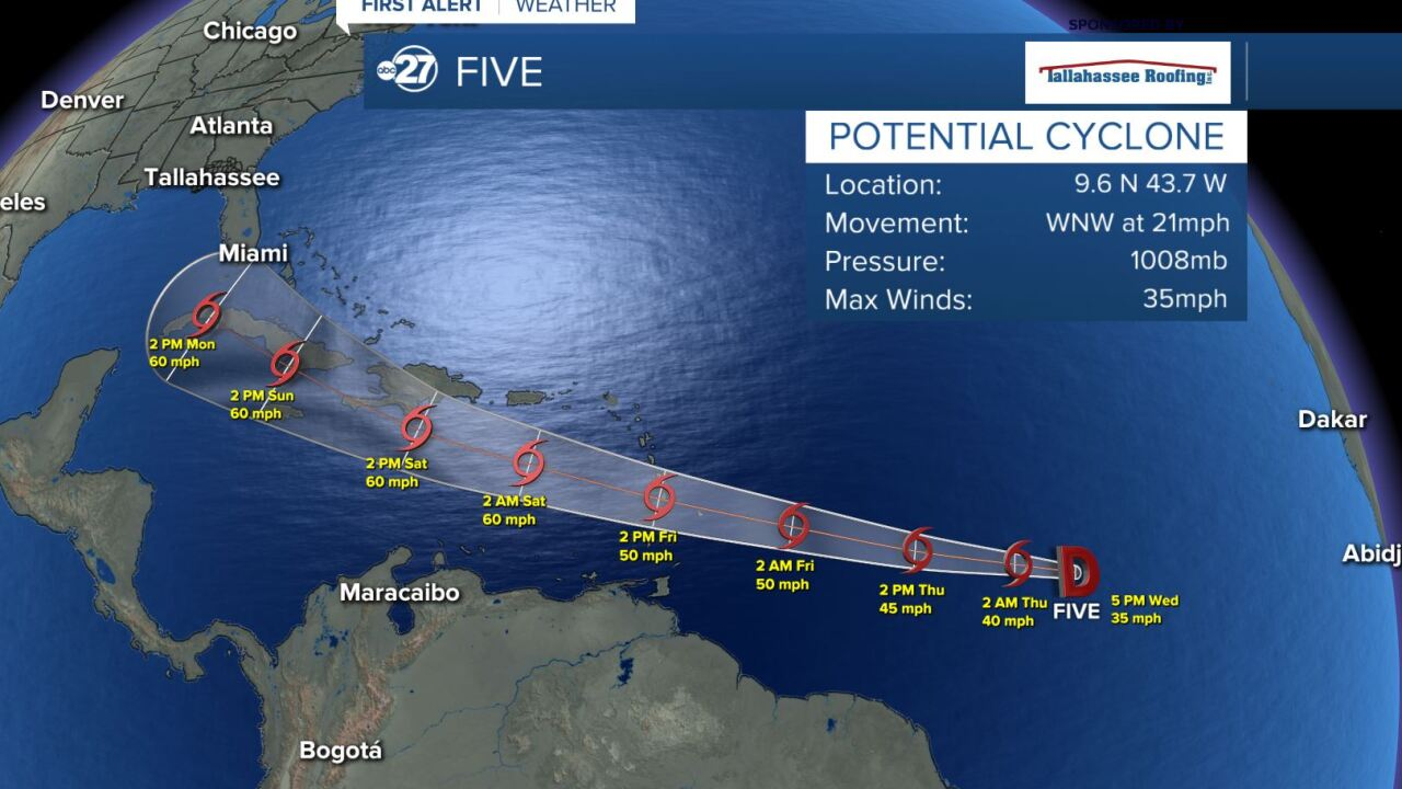 Potential cyclone Five forecast track