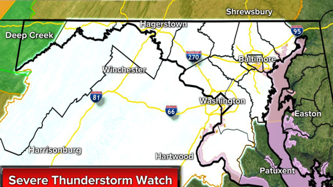 Severe thunderstorm watch issued in Maryland