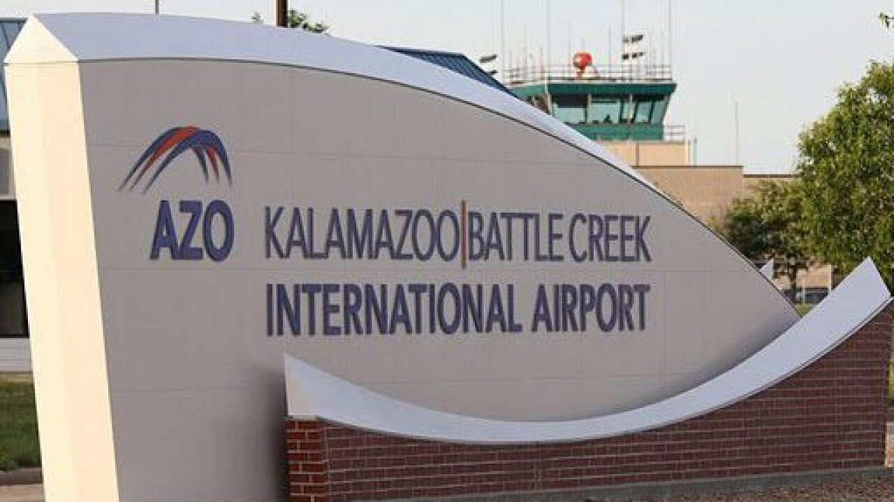 Kalamazoo/Battle Creek airport sign file photo