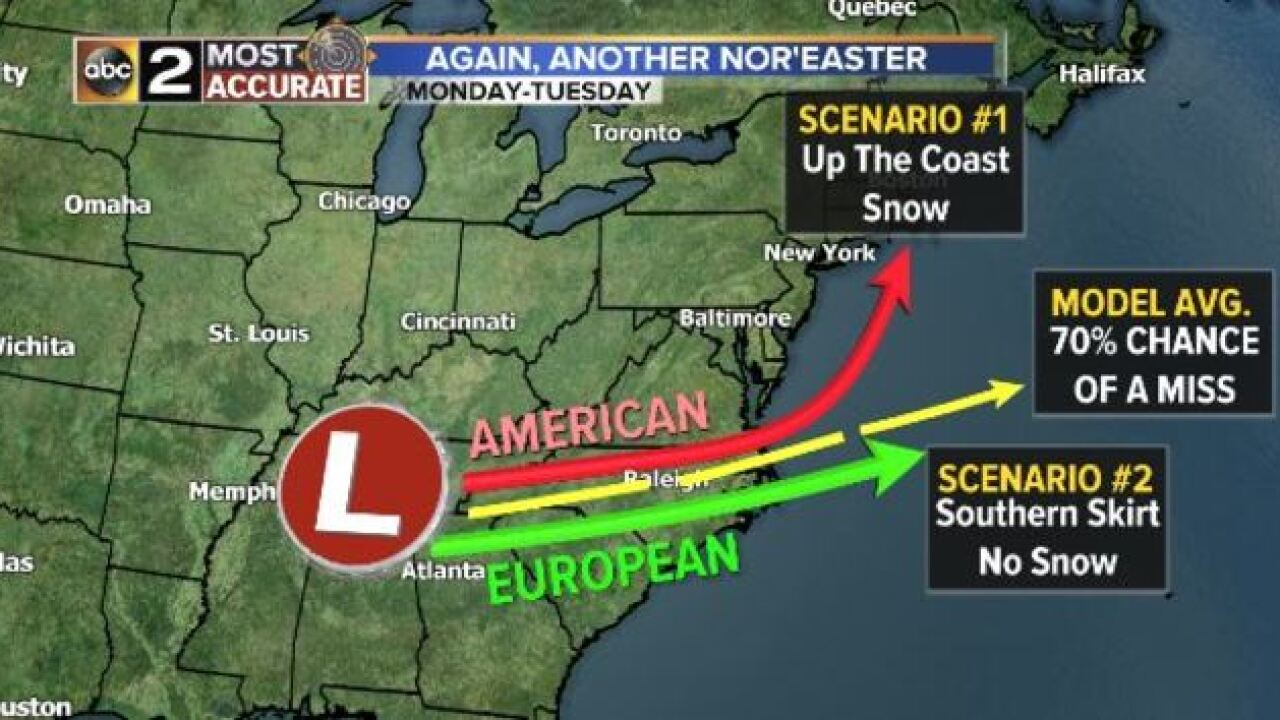 NOR'EASTER LOOKING LESS IMPRESSIVE