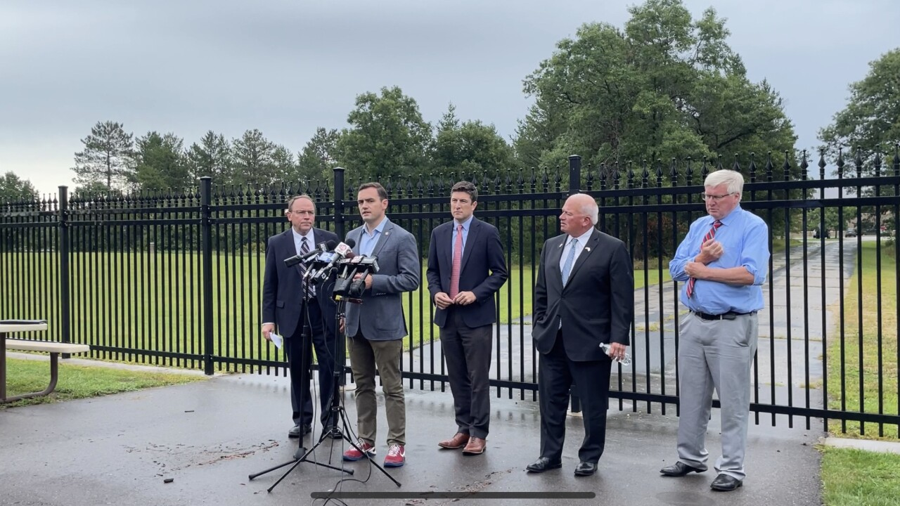 Republican members of Wisconsin's congressional delegation speak outside Fort McCoy