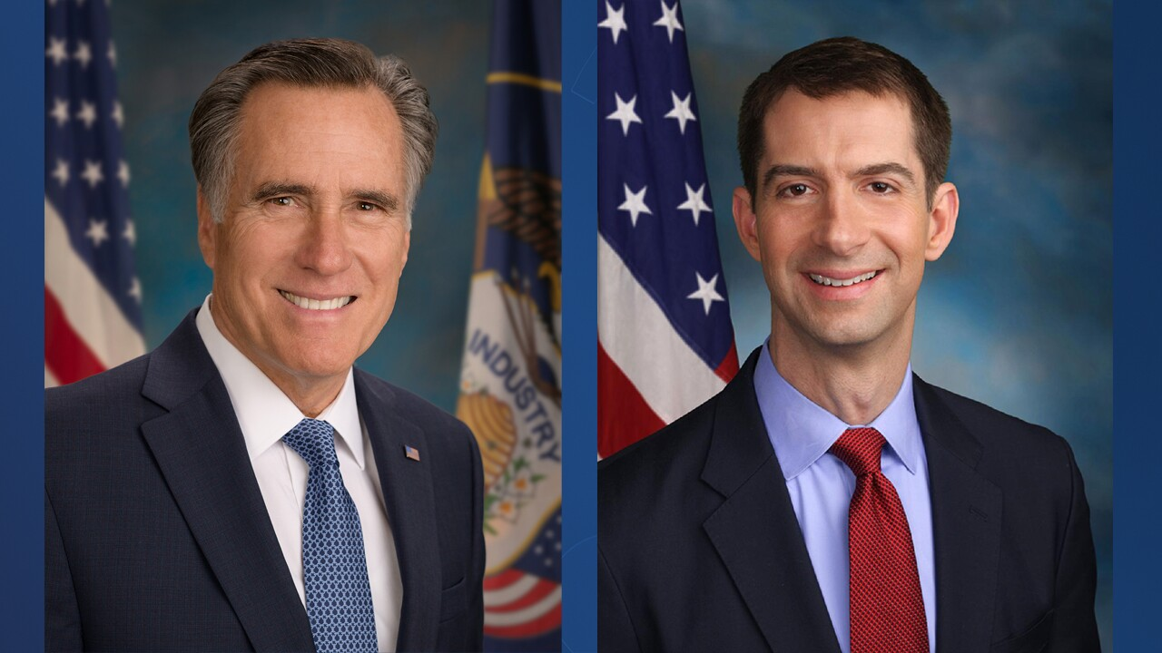 U.S. Senators Mitt Romney (R-UT) and Tom Cotton (R-AR)