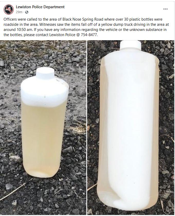 Mysterious bottles found in Lewiston