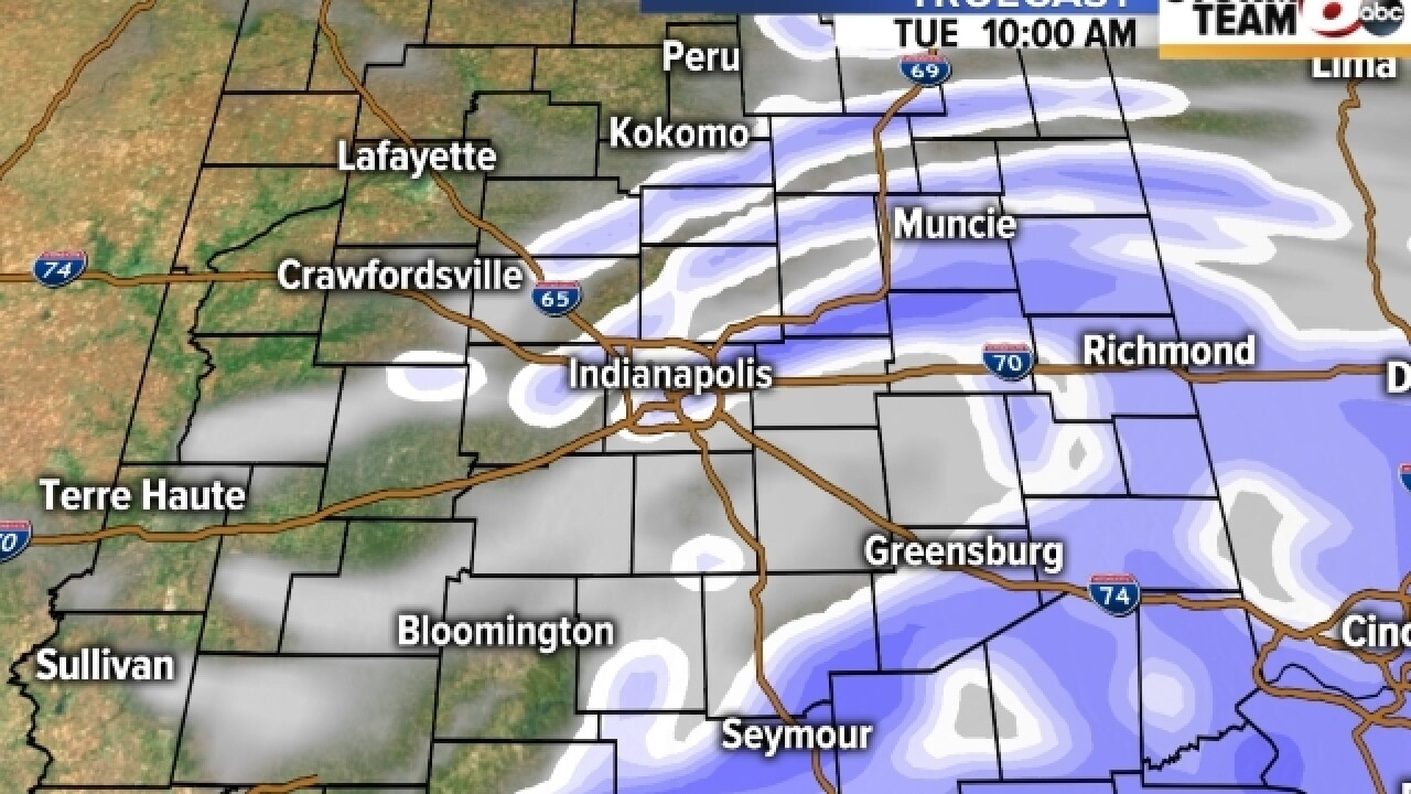 TIMELINE: When to expect snow Tuesday