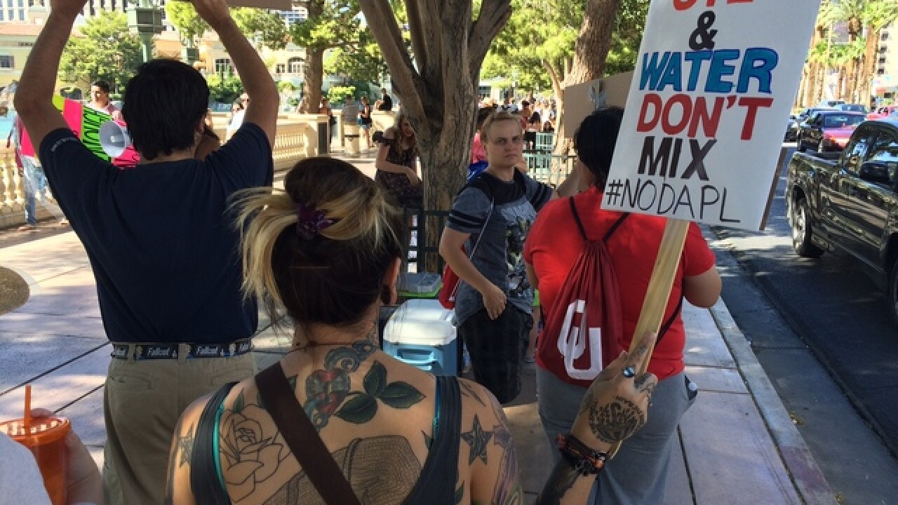 Protest against North Dakota pipeline on Strip
