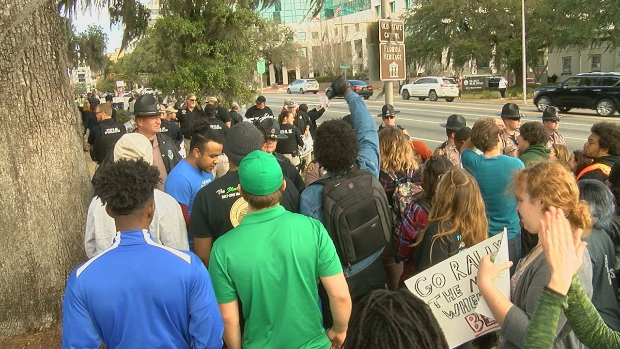 Dozens gather for protest, counter protest at Florida Capitol