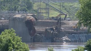 Demolition debris at the former Beckjord coal plant on June 16, 2021.