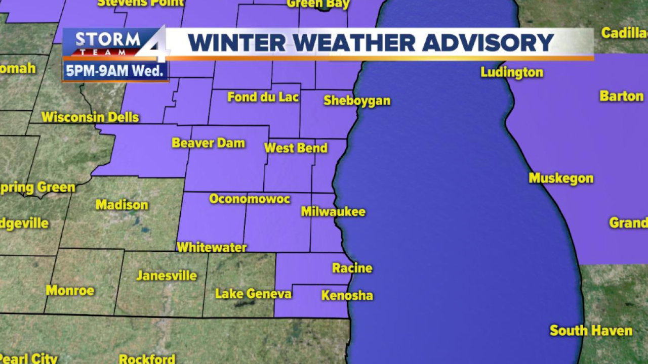 Winter weather advisory in effect at 5 p m  Tuesday