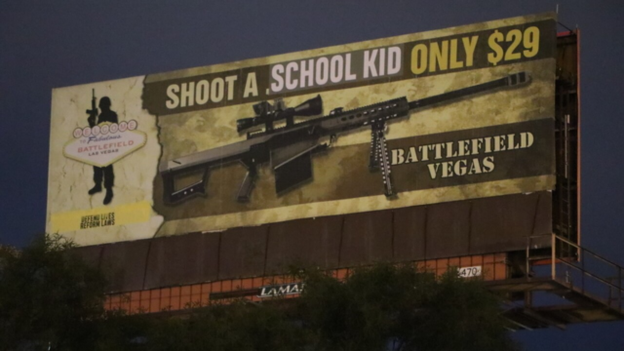 'Shoot A School Kid' billboard appears in Las Ve