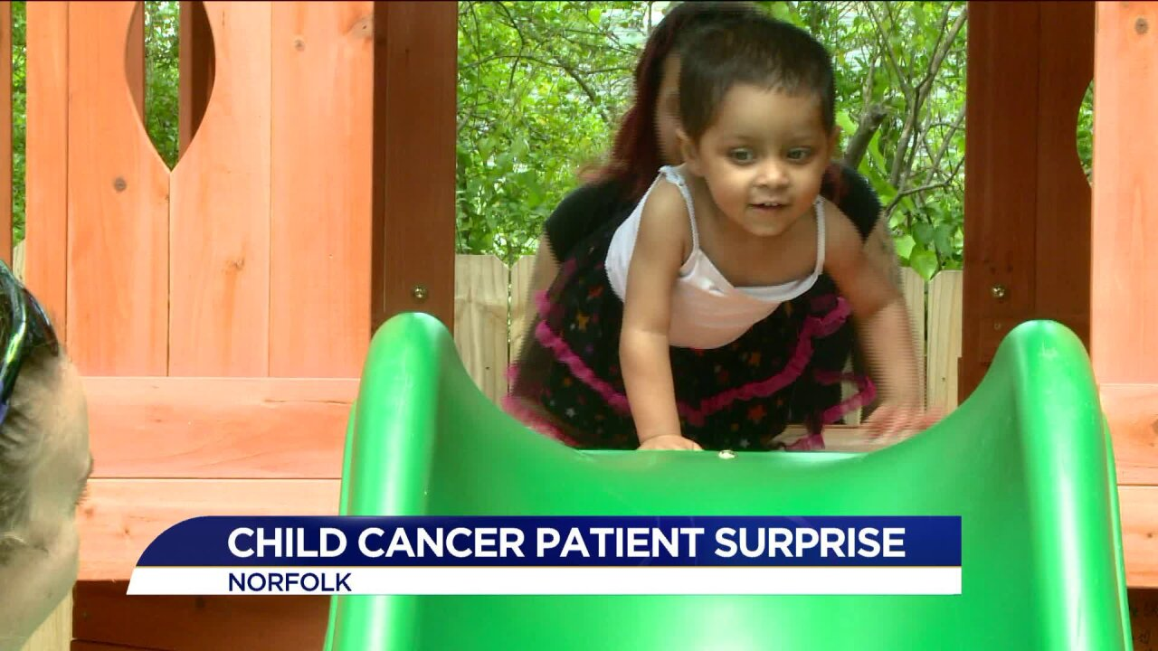 2-year-old Norfolk girl with brain cancer gets red carpet treatment, backyard surprise