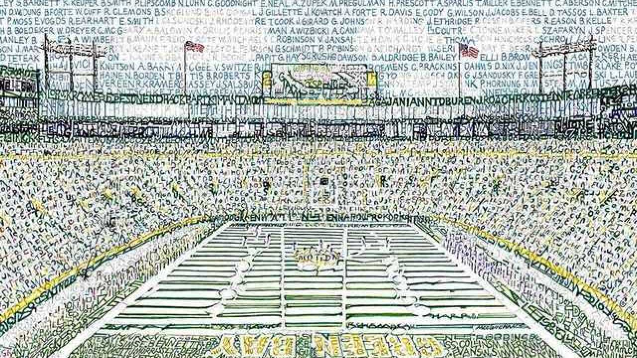 Artist recreates Lambeau Field by handwriting names of every Packers player ever