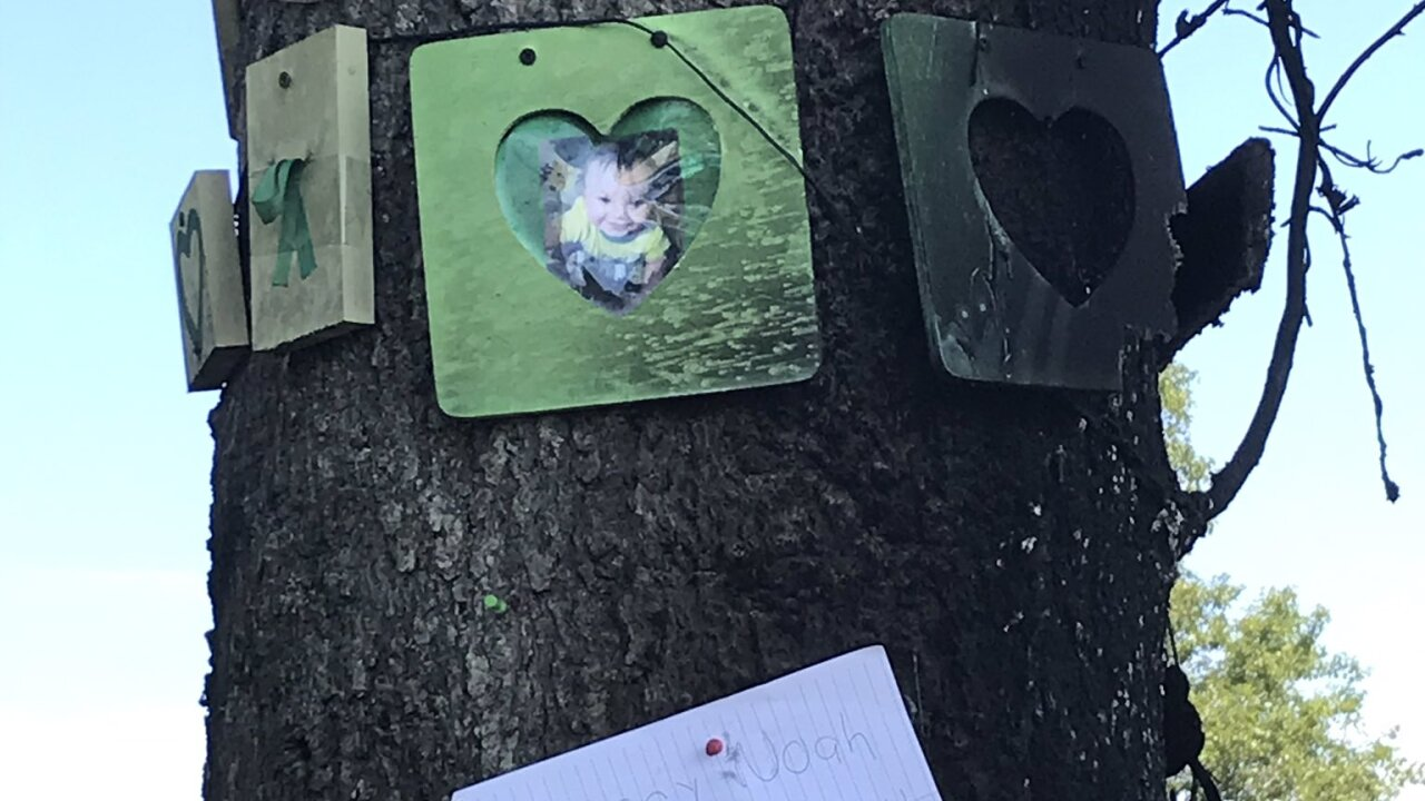 Memorial tree for Noah Tomlin catches fire