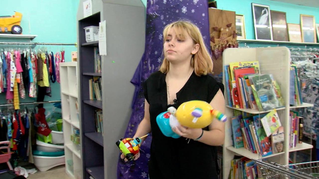 Raven Spindler at thrift shop