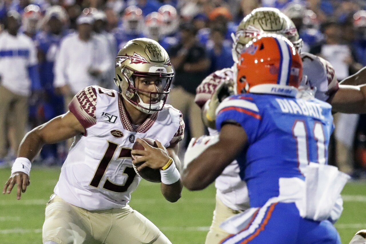 Florida State Seminoles QB Jordan Travis vs. Florida Gators in 2019