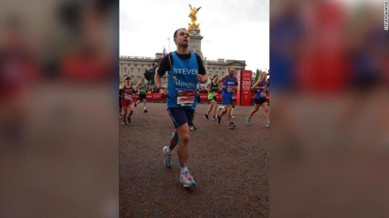 A firefighter ran 18 miles on a broken foot in the London Marathon