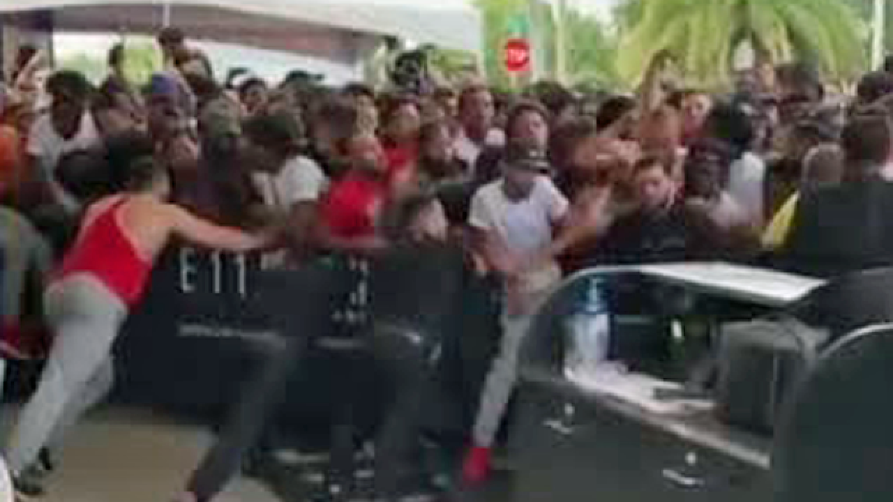b4d3b84f3b2e Crowd gets unruly at new SoleFly Air Jordan 1 shoe release in Miami