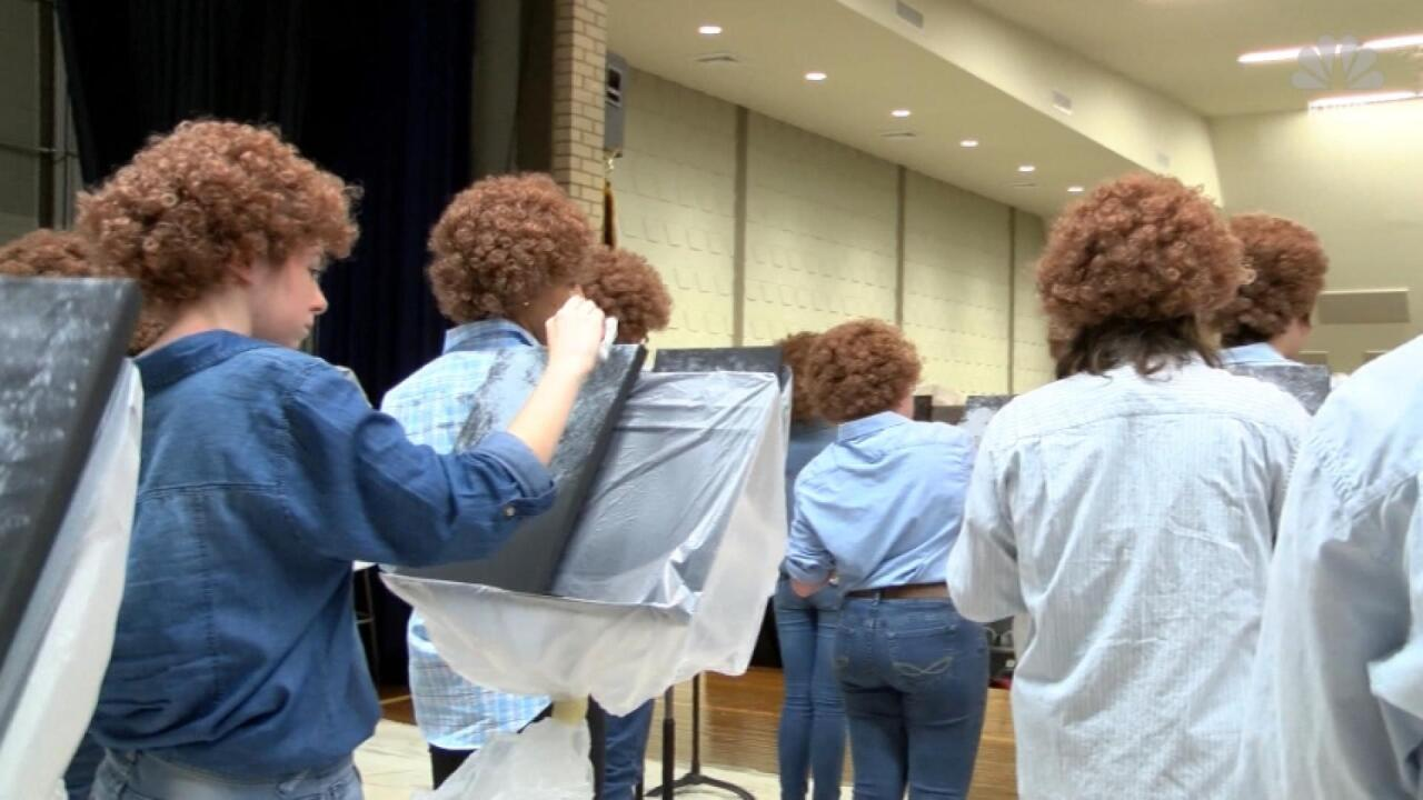 Bob Ross Mob Students Dress Like Famous Painter For Class