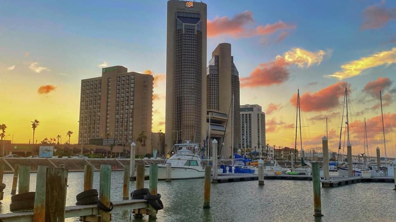 Downtown Corpus Christi Sunset - Photo By: FB Coastal Bend Weather Watcher Lu Ann Kingsbury