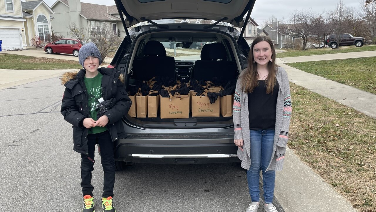 "Kai and Morgan Forshee deliver ""Bags of Blessings"" to the homeless."