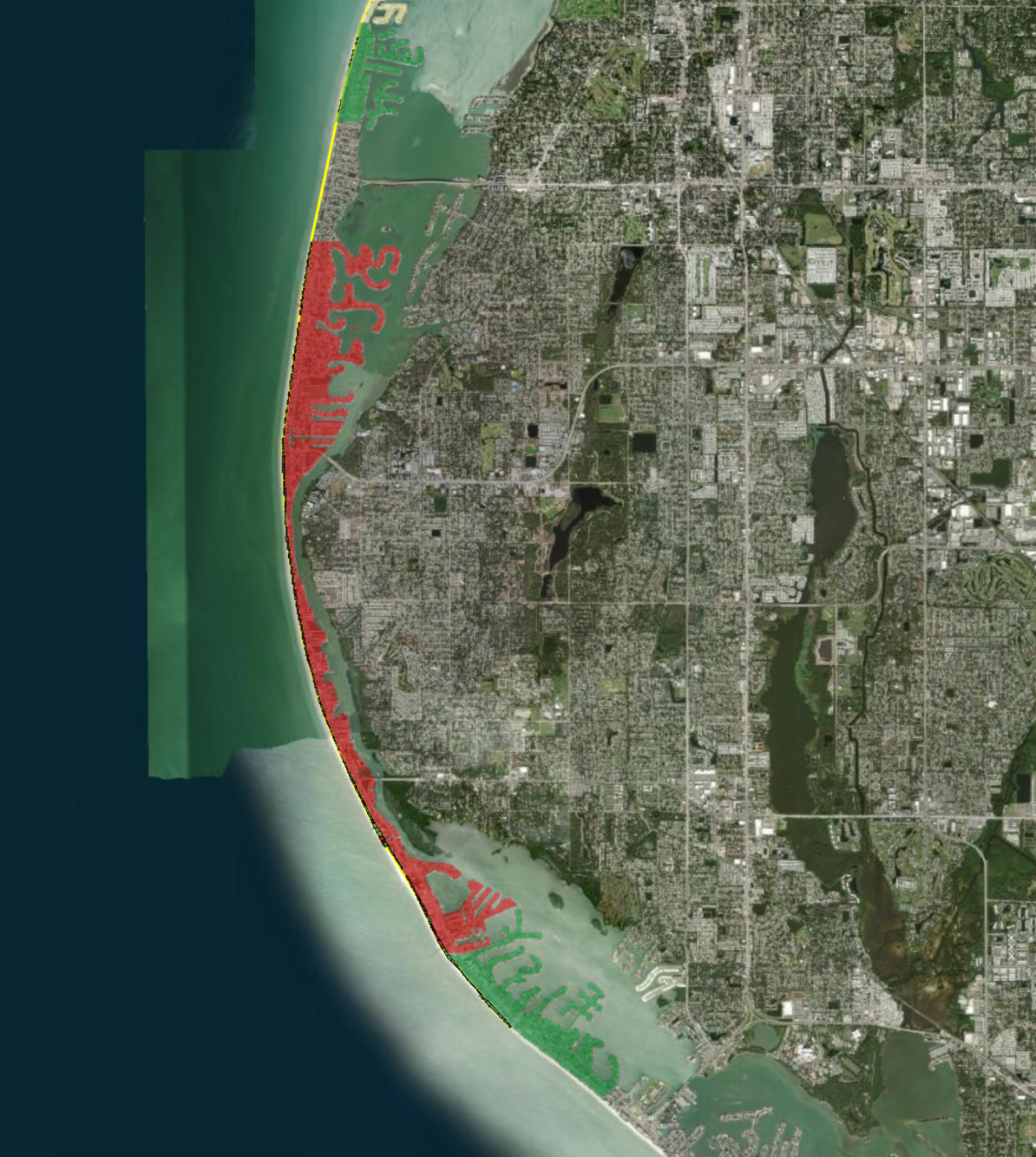 Coutesy Pinellas County red shows area without signed easements.png