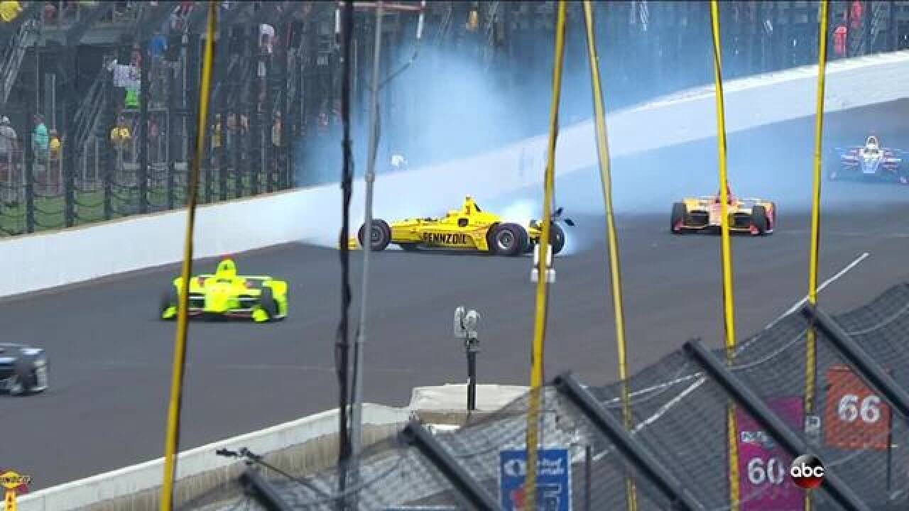 Helio Castroneves crashes on Lap 147 of the Indy 500