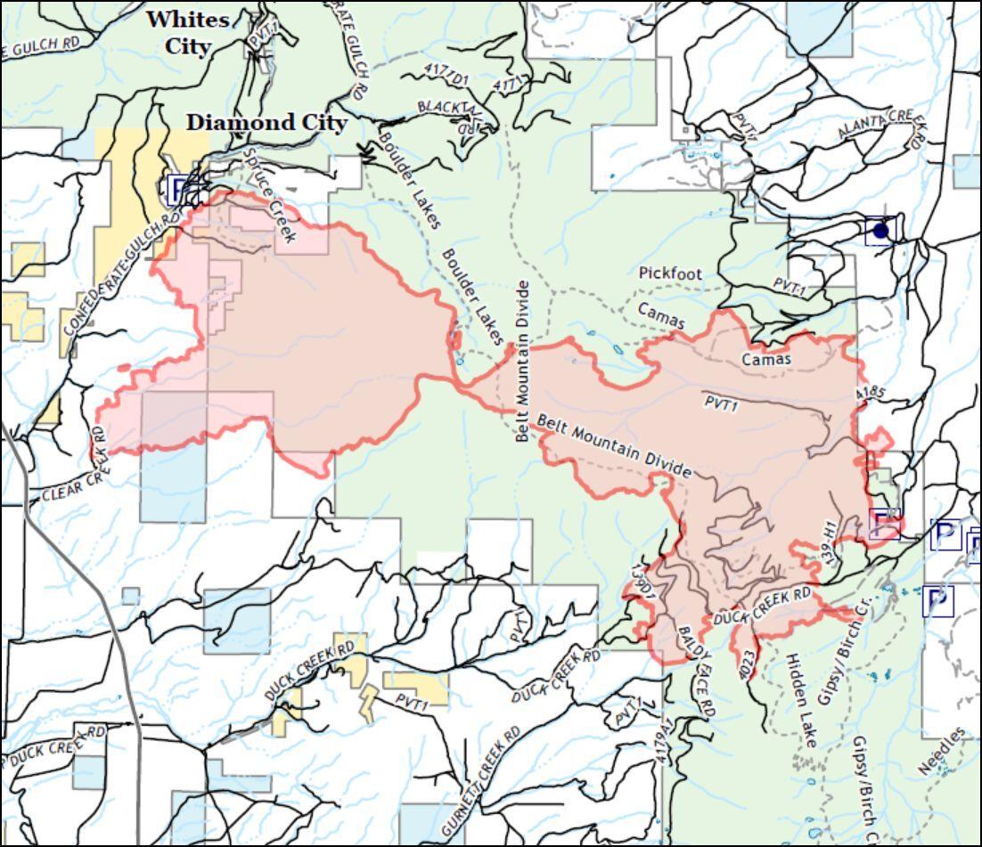 Woods Creek Fire perimeter as of August 5