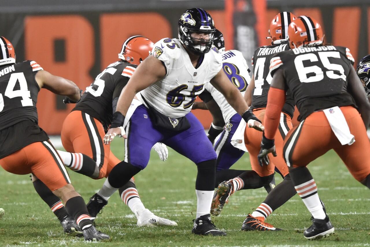 Baltimore Ravens offensive guard Patrick Mekari at Cleveland Browns in 2020