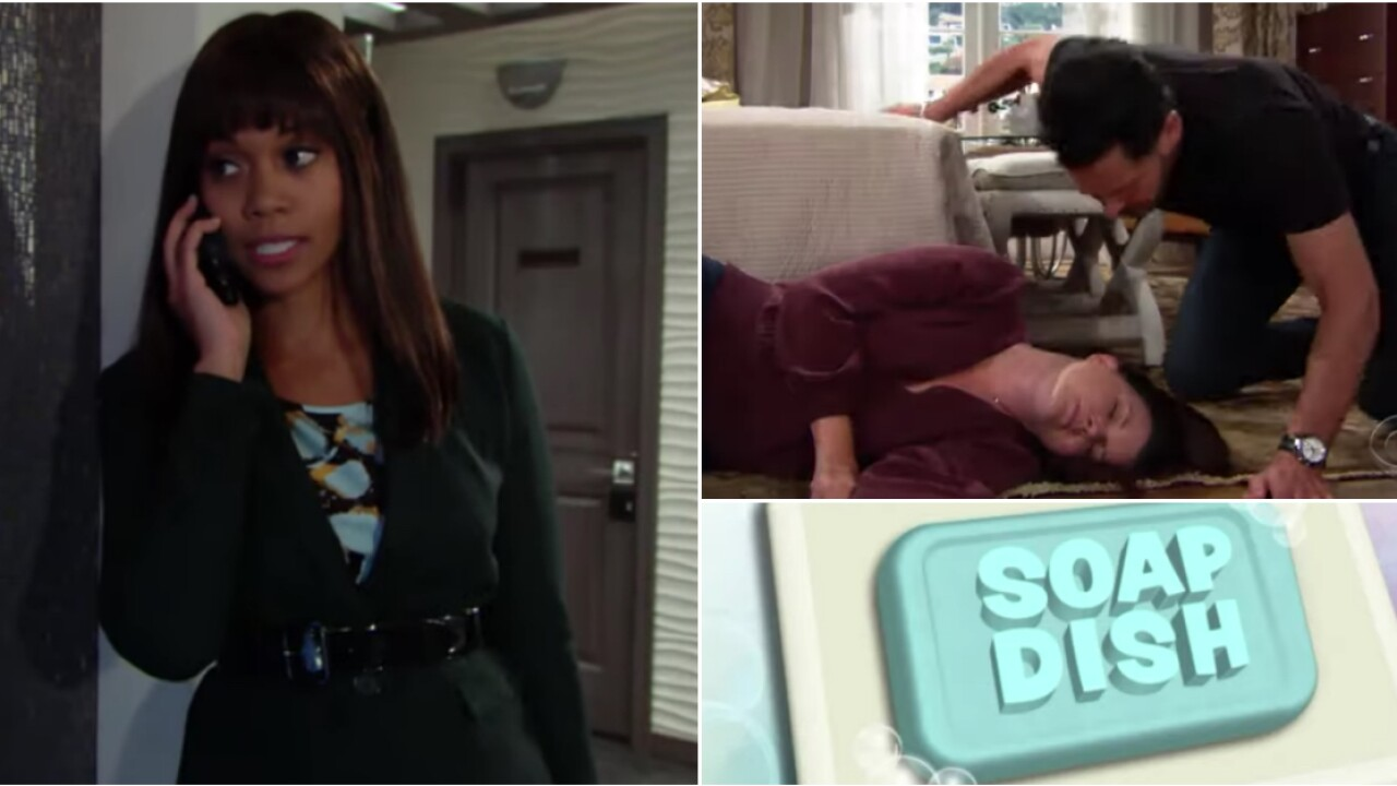 SOAP DISH: Hilary lookalike shocks Devon on Y&R; Katie collapses on B&B