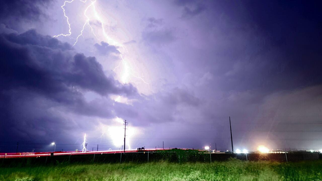 Lightning Strikes in Violet, TX - Photo By: FB Coastal Bend Weather Watcher William Garza