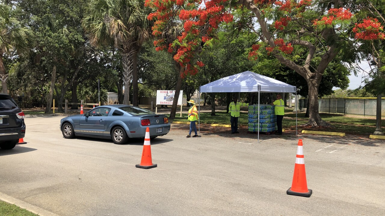 Water distribution continued for the second day in West Palm Beach.