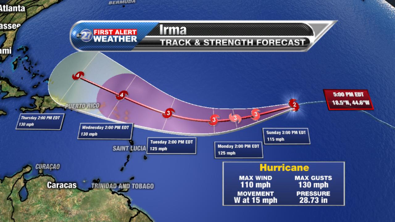 Hurricane Irma forecast cone (9/2/2017 pm)