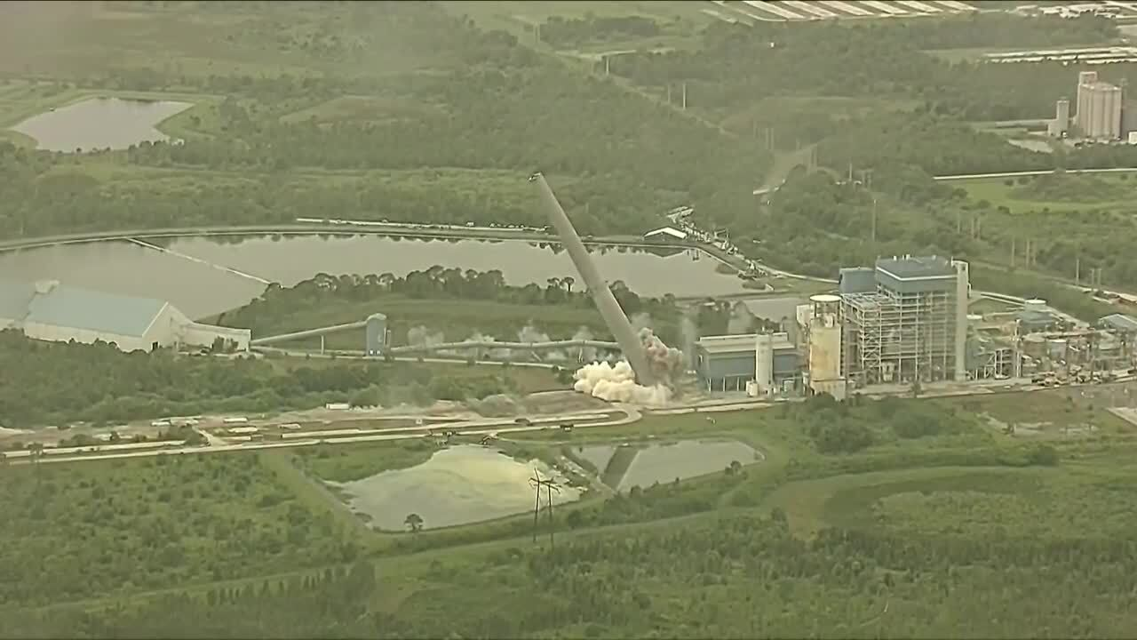 FPL power plant implosion aerial