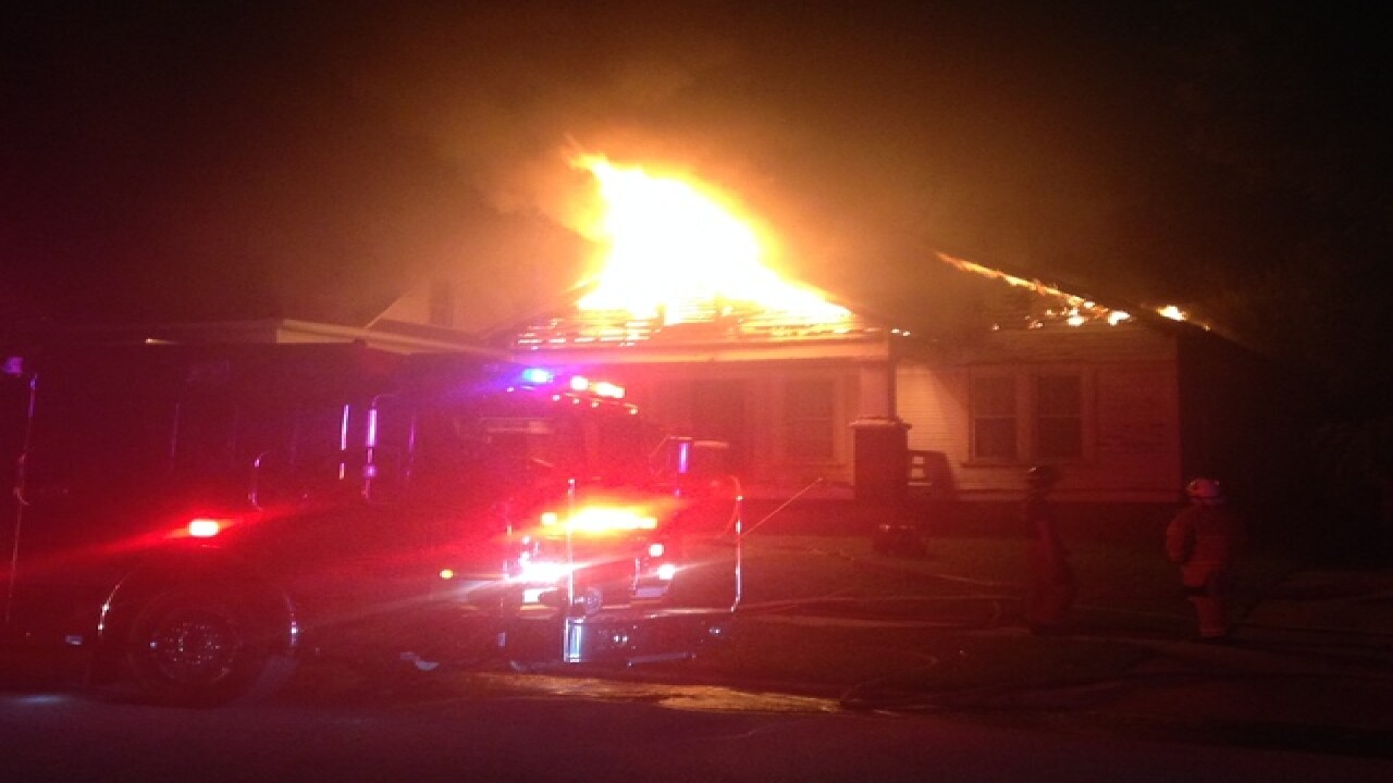 Flames shoot from roof of north Tulsa home