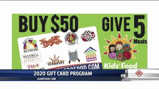 Buy a $50 gift card, give 5 meals to Kids' Food Basket