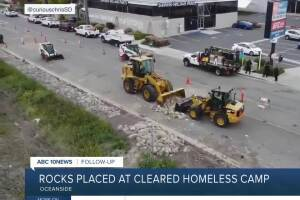 Rocks placed at cleared homeless camp in Oceanside