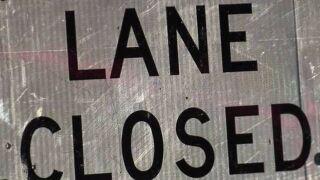 Road construction lane closed