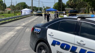 A body was found in a canal near Carver Avenue and Ninth Street in West Palm Beach, Fla., on July 28, 2020.
