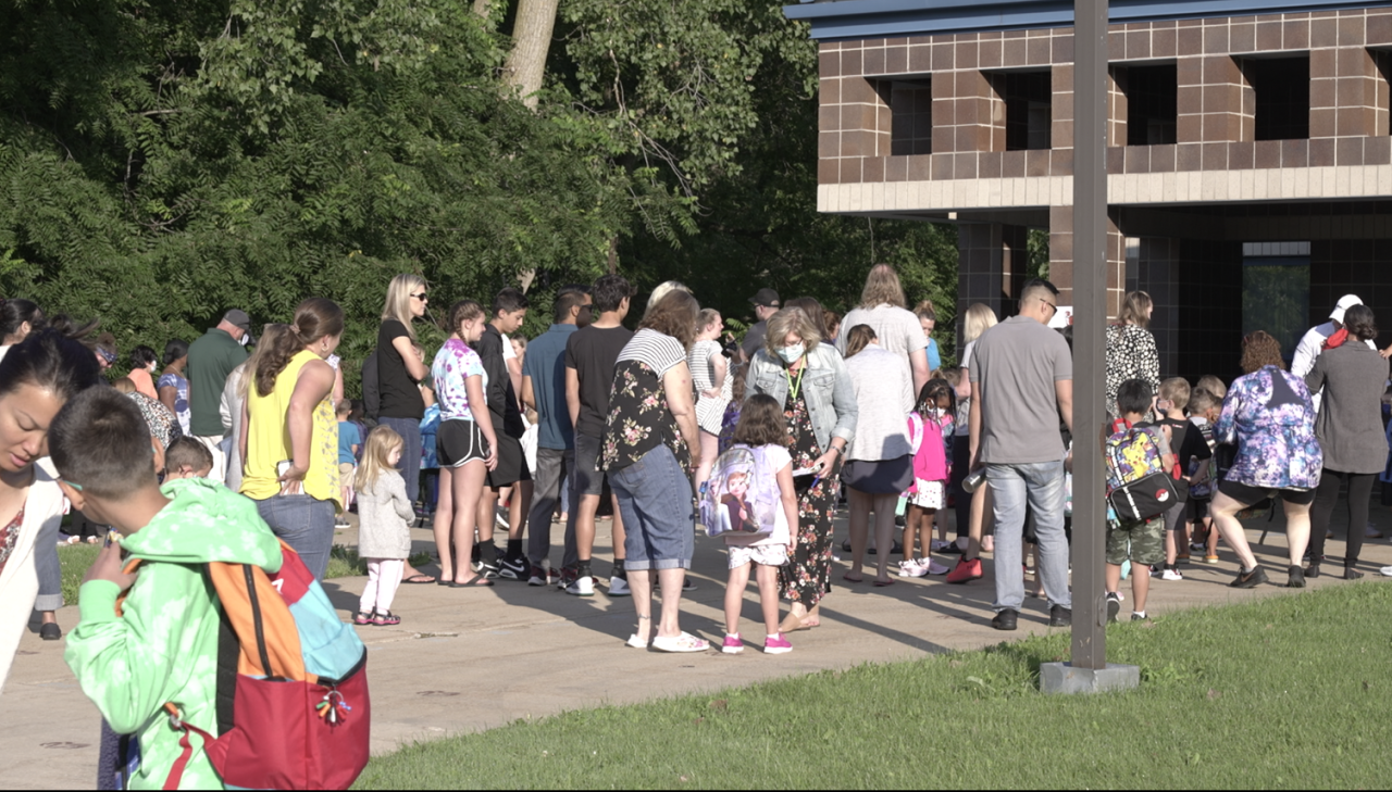 Students at Horizon Elementary School prepare for their first day