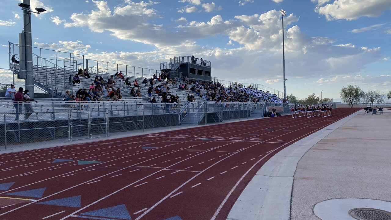 Desert Oasis HS crowd at first game since shooting incident a week prior.