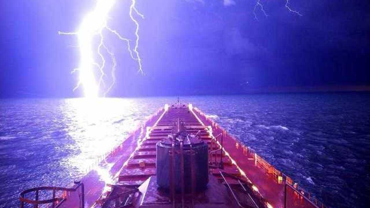 Viral photo shows dramatic lightning strike on Lake Michigan