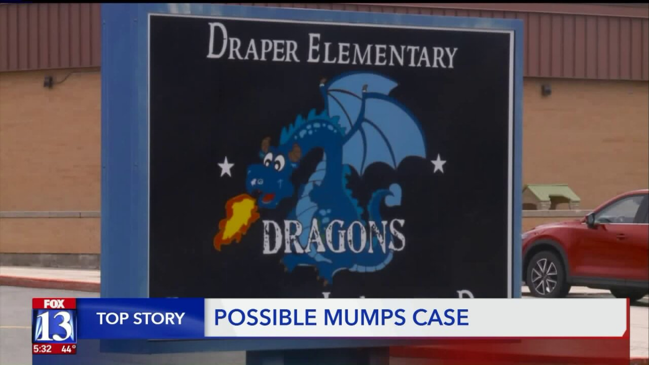 Possible Mumps case at Draper Elementary School